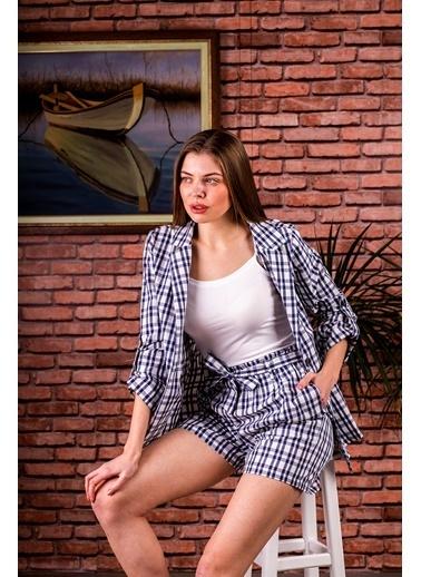 Stamina  Bayan Kolları Aparatlı Ekose Ceket-5CK03 Lacivert